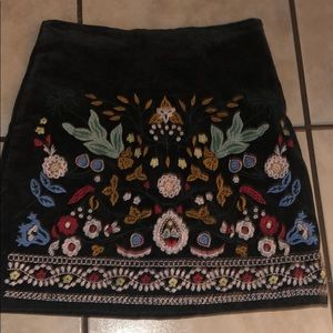Beautiful flower embroidered olive green skirt